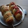 スキレットで温野菜サラダ/ホームベーカリーでむっちりソーセージパン(´ー`)