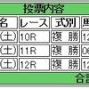 7/9(土)複勝コロガシの予想。9時時点オッズで1,200円→9,460円