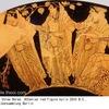 """時間,季節,秩序をつかさどる女神ホーライHorai1 英語hourの語源となったギリシャ語hṓrɑ̄ をその名に頂く女神たちです.""""2番目に ゼウスは 輝かしいテミスを娶(めと)られた.彼女は 季節女神(ホーラ)たち すなわち  秩序(エウノミア) 正義(デイケ) 咲き匂う平和(エイレネ)を生まれたが  この方々は 死すべき身の人間どもの仕事に 心を配られる"""" """"神統記"""" ゼウスと女神たちの結婚"""