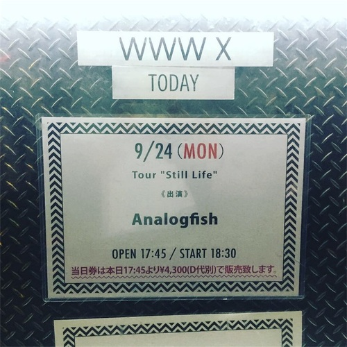 "Analogfish Tour ""Still Life"" at Shibuya WWW X 2018/09/24"
