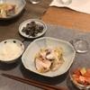 ごはん、ブリと白菜の蒸し煮、ナスの胡麻和え、トマトとアボカド(サーモン少し)サラダ
