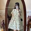 花柄 ワンピース 襟付 韓国ファッション レディース Aライン ゆったりウエスト ローズプリント