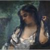 クールベ 「もの思うジプシー女」 蛇によってバラバラになって喰われる女