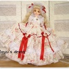 MSD  白地に赤い薔薇のドレス