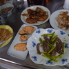 幸運な病のレシピ( 1415 )朝 :ハツとアスパラのソテー、鳥手羽ピリ辛&椎茸、焼き鳥、鮭、小鯛唐揚げ、モロヘイヤ味噌汁