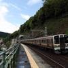 定光寺駅と荒れる土岐川 ついでに1800系