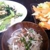 小松菜卵炒め、キャベツのピーナッツ和え、スープ