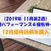 【株式】週間運用パフォーマンス&保有株一覧(2019.11.8時点) 12月優待銘柄を購入