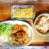 鶏唐揚げ、キャベツポテトサラダ、玉子焼き