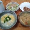 卵雑炊と胡瓜の酢漬けと味噌汁