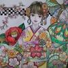 『6.日本の振袖』のページ塗り過程です☆ビューティフルドレスより