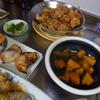 幸運な病のレシピ( 1396 )朝:カボチャ、鶏唐揚、ゴーヤチャンプル、鱒、ブリ味噌漬、味噌汁
