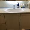 洗面台のチャイルドミラーにタイルを貼った
