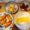 鶏肉フライ、ミートボール、竹輪かき揚げ、玉子焼き