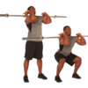 フロントスクワットと競技パフォーマンス(ウェイトリフティング動作の1RM値の合計は、スプリントや垂直跳びのパワーなど、スピード筋力を要する様々なスキルのパフォーマンスと正の相関関係になる)