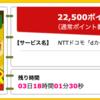 【ハピタス】NTTドコモ dカード GOLDが期間限定22,500pt(22,500円)にアップ!  さらに最大18,000円相当のプレゼントも!