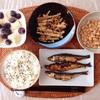 めざし焼き、きんぴらごぼう、バナナブルーベリーヨーグルト、中粒納豆。