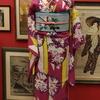 ピンク地矢羽根に波の丸萩撫子桔梗× 水色小鳥と花刺繍名古屋帯
