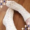 1号針で編むくつ下ソックニッティングより「透かし模様の靴下」完成!着画あり
