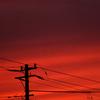 夕暮れの電柱