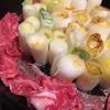 長芋とせりの卵とじ すき焼き(ねぎ牛鍋?)の名残