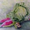 2017年:1月 『冬野菜を描く - キャベツと赤大根』