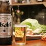 【今夜の晩酌】アサヒの大瓶ビールと、サムギョプサル的ごはん。サムジャンって使えるなー◎
