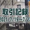 2021/7/19週の米国株オプション取引(確定利益$1,063、含み損$-4,474)