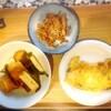豆腐あんかけ、さつまいも、鱈、焼肉、玉子焼き
