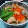 今日の晩飯 鮭はらこ飯と揚げ出し豆腐の肉みそあんかけを作ってみた