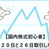 【国内株式初心者】2021年7月20日と26日取引した銘柄の記録