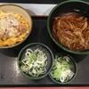 🉐セット ミニカツ丼とかけそばに、クーポン券を使って、納豆を追加する。 (@ ゆで太郎 in 豊島区, 東京都)