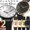 KLASSE14 クラス14 腕時計 メンズ 42mm 革ベルト レザー ローズゴールド シルバー VOLARE