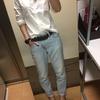 骨格ストレート向き白シャツ。無印良品の洗いざらしブロードシャツ