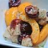 ビワとチェリーと鶏ハムのマリネ、カシス風味