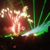 山口県長門市油谷 夏祭りの花火とレーザーのコラボが見事
