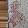 2】色鉛筆で髪の毛&洋服部分の塗り方紹介です☆HUGっと!プリキュアぬりえより