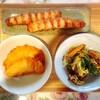さつま揚げ、豚肉野菜炒め、チキン