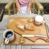 庭で COYA パン、今日のオヤツと夕ごはん