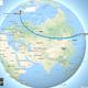Google Mapsの地球儀表示対応で、飛行機による空港間直線も地球儀上で表示可能に