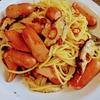 キノコとウインナーのスパゲッティ