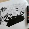 ポスカで黒背景ぬりえを作ってみました☆花日和花だよりより