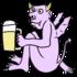 ビールを飲むかわいい悪魔 のイラスト