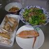 幸運な病のレシピ( 1819 )朝:手羽焼き、鮭、青梗菜とニンニクの芽炒め、鶏皮煮つけ、味噌汁