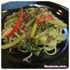 【レシピ】豚肉とセロリの米粉パスタ、オイスターソース味