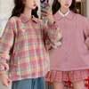 韓国ファッション リバーシブル ジャケット レディース チェック柄 無地 ブルゾン ピーチ