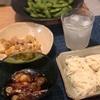 そうめん、豚肉と白菜と卵の炒め物、枝豆