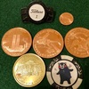 ゴルフこだわりの小物…  ボールマーカー。アンティーク・ショップで純度99.999 の記念コインを購入…