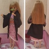 リカちゃんサイズの禰豆子っぽい着物を縫ってみました