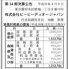 株式会社ビービーディーオージャパン 第34期決算公告